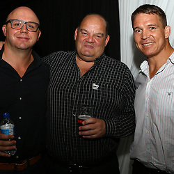 DURBAN, SOUTH AFRICA, December 3 2015 - Eduard Coetzee with Juno Fourie and John Smit (Chief executive officer) of the Cell C Sharks during The Cell C Sharks Official Launch and unveiling of The Cell C Sharks Super Rugby Jersey at Growthpoint Kings Park in Durban, South Africa. (Photo by Steve Haag)<br /> images for social media must have consent from Steve Haag