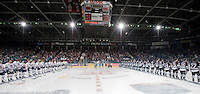 KELOWNA, CANADA - SEPTEMBER 25:  The Kamloops Blazers and the Kelowna Rockets line up during the Rockets home opener on September 25, 2015 at Prospera Place in Kelowna, British Columbia, Canada.  (Photo by Marissa Baecker/Shoot the Breeze)  *** Local Caption ***