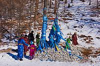 Mongolie, province de Khovsgol, lac Khovsgol, Öbö chamanique. Lieu sacré dédié à Tingri, le ciel // Mongolia, Khovsgol province, Khovsgol lake, Sacred Öbö for Shaman