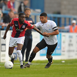 TELFORD COPYRIGHT MIKE SHERIDAN Adriano Moke holds off Ellis Deeney of Telford during the National League North fixture between AFC Telford United and York City at the New Bucks Head on Saturday, October 12, 2019.<br /> <br /> Picture credit: Mike Sheridan<br /> <br /> MS201920-025