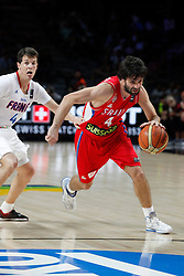 12.09.2014, City Arena, Madrid, ESP, FIBA WM, Frankreich vs Serbien, Halbfinale, im Bild France´s Heurtel (L) and Serbia´s Teodosic // during FIBA Basketball World Cup Spain 2014 semifinal match between France and Serbia at the City Arena in Madrid, Spain on 2014/09/12. EXPA Pictures © 2014, PhotoCredit: EXPA/ Alterphotos/ Victor Blanco<br /> <br /> *****ATTENTION - OUT of ESP, SUI*****