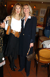 Left to right, BASHIA BRIGGS and CHARLY SPRY  at a pre-screening party of a film by Fiona Sanderson entitled 'The Hunt For Lord Lucan' held at Langans, 254 Old Brompton Road, London SW7 on 8th November 2004.<br /><br />NON EXCLUSIVE - WORLD RIGHTS