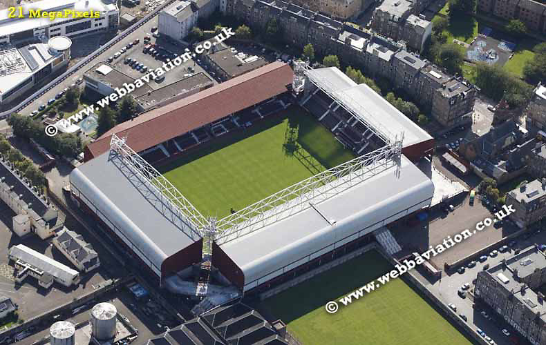 aerial photograph of Hearts FC Tynecastle Stadium  Edinburgh Scotland