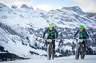 Jan Sallawitz and Tino KaSner enjoy the scenery during stage 2 and 3 of the first Snow Epic, the ascent and decent of Brunni Hütte near Engelberg, in the heart of the Swiss Alps, Switzerland on the 16th January 2015<br /> <br /> Photo by:  Nick Muzik / Snow Epic / SPORTZPICS
