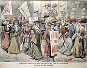 English suffragettes Edith New and Mary Leigh being carried triumphantly through London streets after being released from Holloway Prison, 22 August 1908. From 'Le Petit Journal', Paris, 6 September 1908.