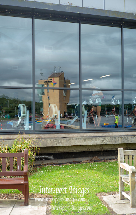 Glasgow, Scotland, Friday, 3rd  August 2018, Reflection of the Finish Tower, in the, Front Windows of the Gym, European Games, Rowing, Strathclyde Park, North Lanarkshire, © Peter SPURRIER/Alamy Live News