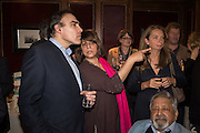 PETER STRAUS; LADY NAIPAUL, David Campbell Publisher of Everyman's Library and Champagen Bollinger celebrate the completion of the Everyman Wodehouse in 99 volumes and the 2015 Bollinger Everyman Wodehouse prize shortlist. The Archive Room, The Goring Hotel. London. 20 April 2015.