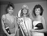 27/08/1984<br /> 08/27/1984<br /> 27 August 1984<br /> Miss Ireland/World contest at the National Concert hall. Winner of the Miss Ireland Contest, Olivia Tracey, (Dublin), (centre) with Judy Webb (left) (Limerick, who was elected Miss Friendship and Linda Ahern (Cork), one of the six finalists in the contest at the National Concert Hall.