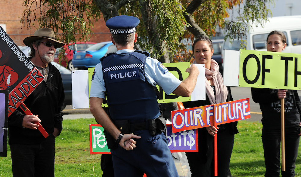 Anti oil drilling and fracking protest outside the Hub where Prime Minister John Key was speaking at the Dannevirke Chamber of Commerce luncheon, Dannevirke, New Zealand, Tuesday, May 21, 2013. Credit:SNPA / Ross Setford