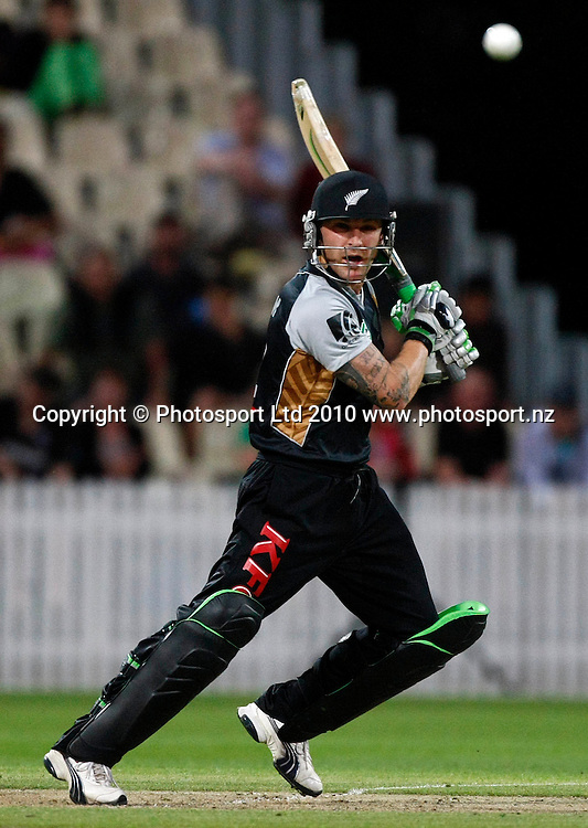 Brendon McCullum bats. KFC Twenty20, New Zealand Blackcaps v Bangladesh, Seddon Park, Hamilton. Wednesday 3rd February 2010. Photo: Simon Watts/PHOTOSPORT
