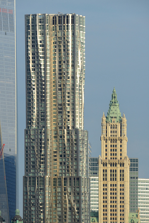 USA, America, New York, buildings in downtown New york with woolworth building on the right