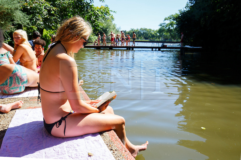 © Licensed to London News Pictures. 23/08/2016. London, UK. People sunbathe at Hampstead Heath Mixed Bathing Pond in north London as they enjoy August's last heatwave on Tuesday, 23 August 2016. Photo credit: Tolga Akmen/LNP