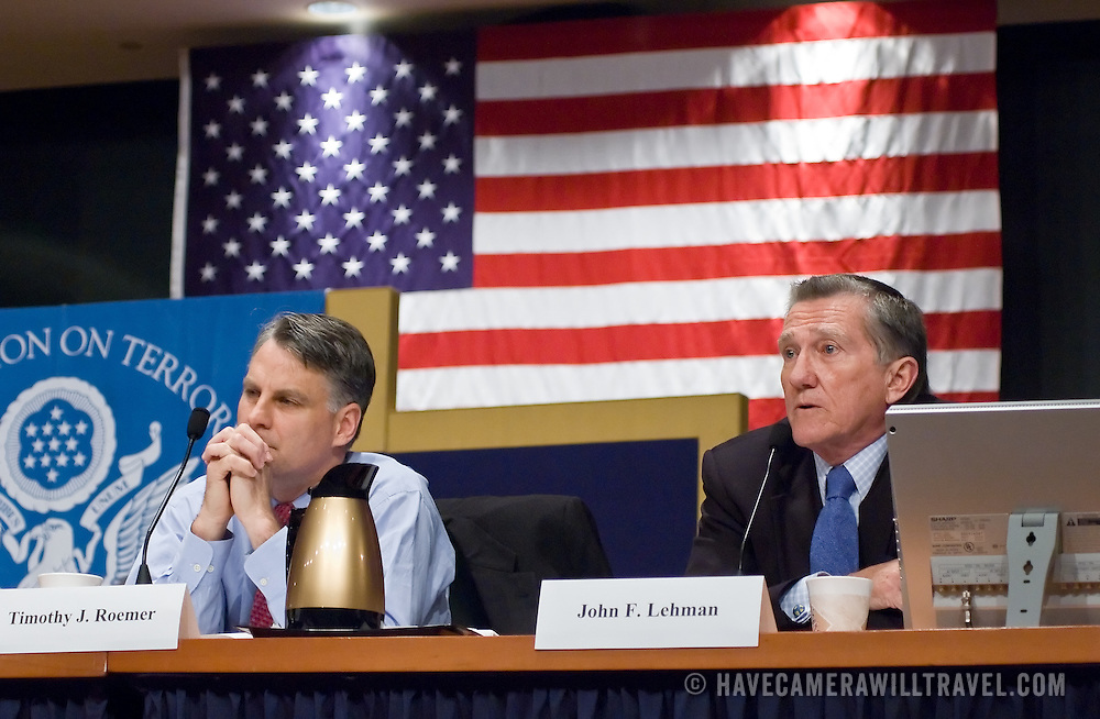 "John Lehman (right) and Timothy Roemer (left). Panel: Al Qaeda. The 9/11 Commission's 12th public hearing on ""The 9/11 Plot"" and ""National Crisis Management"" was held June 16-17, 2004, in Washington, DC."