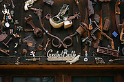 """SHOT 7/08/2007 - A variety of old items, including old tools and toys, adorn the side of a garage in Crested Butte, Colo. Often called """"the last great Colorado ski town"""", Crested Butte is a small resort town located in Gunnison County in the U.S. state of Colorado. A former coal mining hub, Crested Butte is now a destination for skiing, mountain biking, and a variety of other outdoor activities. The Colorado state legislature has designated Crested Butte the wildflower capital of Colorado..(Photo by Marc Piscotty / © 2007)"""