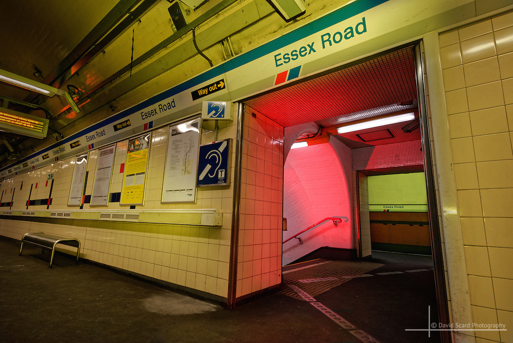 Taken after-hours at an underground station in London with full permission and arrangements, this work makes use of lighting gels for an eerie feel.