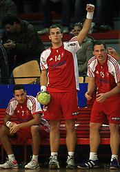 Dominik Kastelic (7), Uros Bundalo (14) and Rok Bucuk (15) of Slovan at handball game RD Slovan vs RD Merkur  in 7th round of MIK First league, on October 24, 2008 in Ljubljana, Slovenia. (Photo by Vid Ponikvar / Sportal Images)