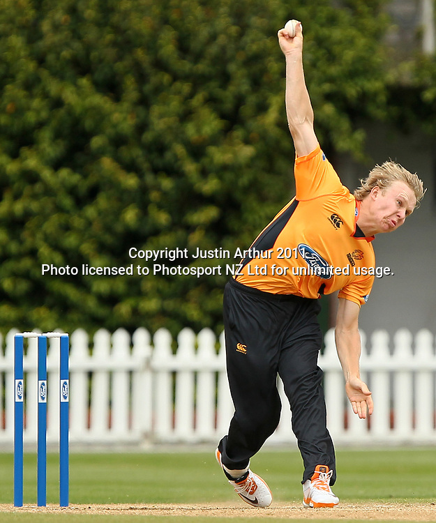 Scott Kuggeleijn in action. Ford Trophy - Wellington Firebirds v Otago Volts, Hawkins Basin Reserve, Sunday 4 December 2011. Photo: Justin Arthur / Photosport.co.nz