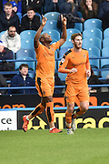 Wolverhampton Wanderers striker Benik Afobe celebrates his goal during the Sky Bet Championship match between Sheffield Wednesday and Wolverhampton Wanderers at Hillsborough, Sheffield, England on 20 December 2015. Photo by Ian Lyall.