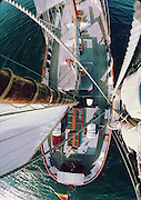 Top 'O the mast on the Anne Von Hamburg sailing vessel.