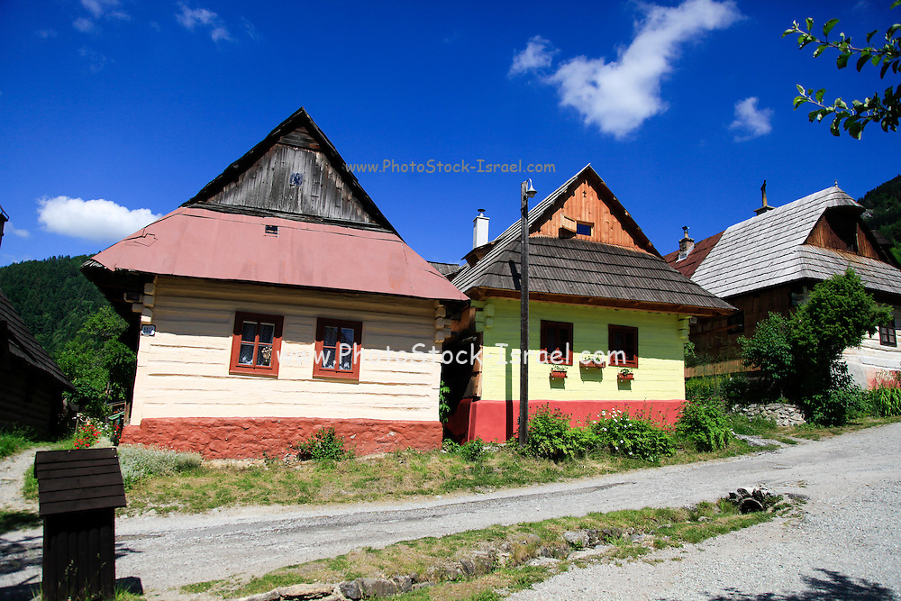 Vlkolinec,  folk architecture reservations. picturesque historical village with traditional wooden houses, Slovakia - UNESCO World Heritage site