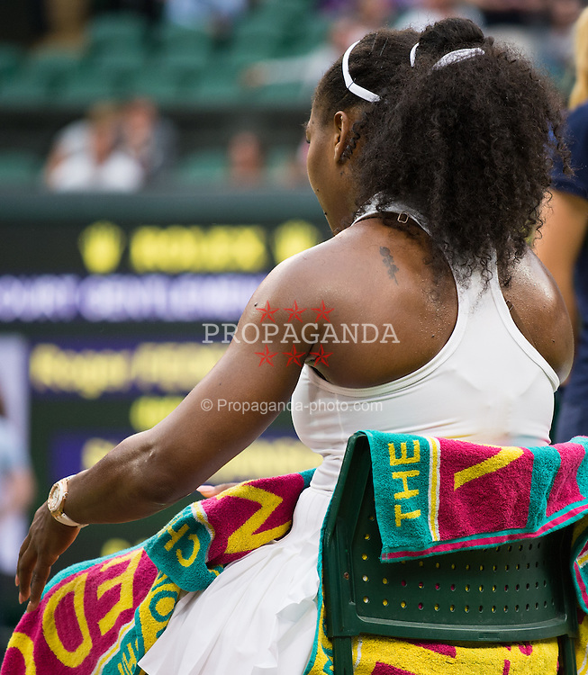 LONDON, ENGLAND - Monday, July 4, 2016:  Serena Williams (USA) and her tattoo on her shoulder during the Ladies' Single 4th Round match on day eight of the Wimbledon Lawn Tennis Championships at the All England Lawn Tennis and Croquet Club. (Pic by Kirsten Holst/Propaganda)