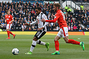 Huddersfield defender Martin Cranie pressures Derby County midfielder Ikechi Anya for the ball during the EFL Sky Bet Championship match between Derby County and Huddersfield Town at the Pride Park, Derby, England on 17 April 2017. Photo by Aaron  Lupton.