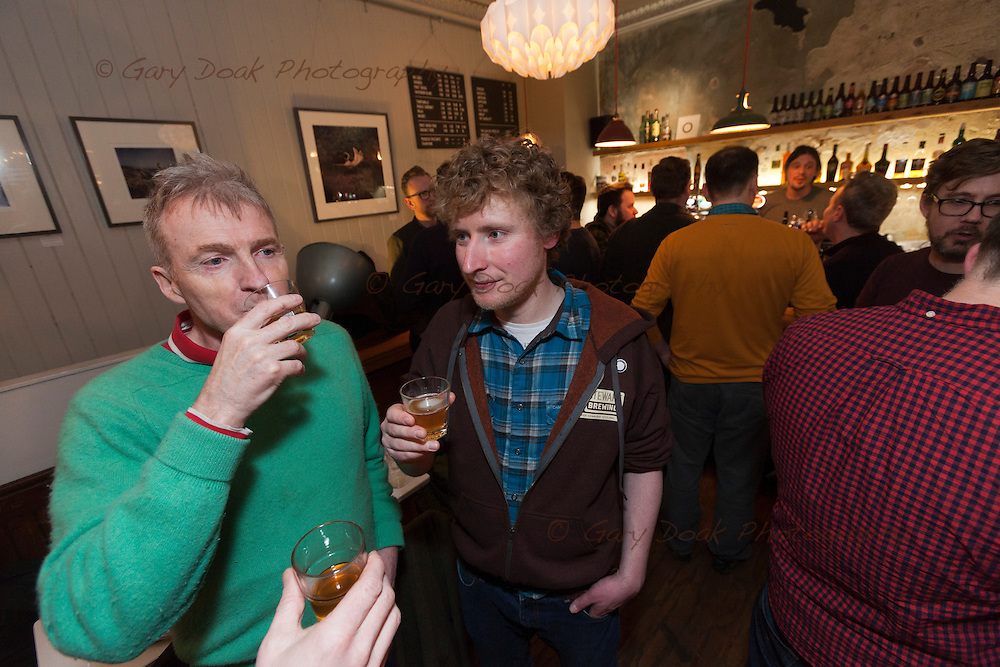 Gluten-free beer at Skylark, Portobello<br /> Staff and customers enjoy a range of gluten-free beers.<br /> <br /> Edinburgh, Feb 2016<br /> Picture by Gary Doak