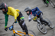 #148 during practice at the 2018 UCI BMX World Championships in Baku, Azerbaijan.