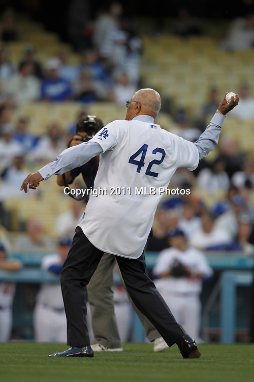 """LOS ANGELES, CA - APRIL 15:  Former pitcher Donald """"Don"""" Newcombe of the Los Angeles Dodgers throws out the ceremonial first pitch as part of Jackie Robinson Day festivities prior to the game between the St. Louis Cardinals and the Los Angeles Dodgers on Friday April 15, 2011 at Dodger Stadium in Los Angeles, California. (Photo by Paul Spinelli/MLB Photos via Getty Images) *** Local Caption *** Don Newcombe"""