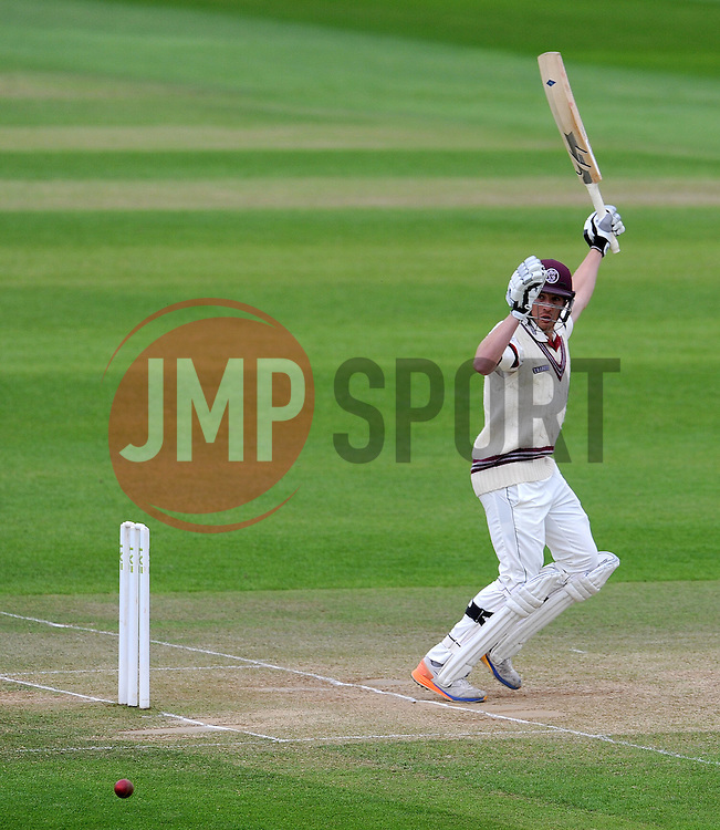 Somerset's Josh Davey flicks the ball. Photo mandatory by-line: Harry Trump/JMP - Mobile: 07966 386802 - 11/05/15 - SPORT - CRICKET - Somerset v New Zealand - Day 4 - The County Ground, Taunton, England.