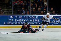 KELOWNA, CANADA - OCTOBER 5:  D-Jay Jerome #12 of the Victoria Royals back checks Lassi Thomson #2 of the Kelowna Rockets on October 5, 2018 at Prospera Place in Kelowna, British Columbia, Canada.  (Photo by Marissa Baecker/Shoot the Breeze)  *** Local Caption ***