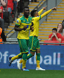 Norwich Nathan Redmond, celebrates after scoring Norwich Second Goal, Middlesbrough v Norwich, Sky Bet Championship, Play Off Final, Wembley Stadium, Monday  25th May 2015