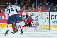 KELOWNA, CANADA - OCTOBER 27: James Porter #1 of the Kelowna Rockets makes a second period save from a shot by Brett Clayton #24 of the Tri-City Americans on October 27, 2017 at Prospera Place in Kelowna, British Columbia, Canada.  (Photo by Marissa Baecker/Shoot the Breeze)  *** Local Caption ***
