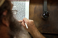 A Jewish resident of Hebron transcribes the Torah by hand for use in prayer and synagogues. It takes approximately ten months to transcribe the entire text of the Torah.<br /> Hebron, Israel. 07/11/2007