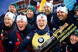 March 9, 2019 - –Stersund, Sweden - 190309 Johannes Thingnes Bö of Norway celebrates with team staff after his gold in the Men's 10 KM sprint during the IBU World Championships Biathlon on March 9, 2019 in Östersund..Photo: Petter Arvidson / BILDBYRÃ…N / kod PA / 92252 (Credit Image: © Petter Arvidson/Bildbyran via ZUMA Press)