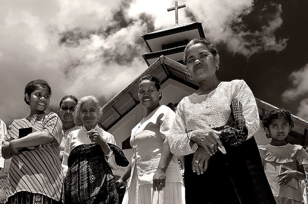 Villagers dressed for church on Lembata Island, Indonesia.