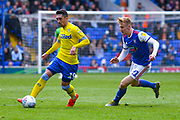 Pablo Hernandez of Leeds United (19) and Flynn Downes of Ipswich Town (21) in action during the EFL Sky Bet Championship match between Ipswich Town and Leeds United at Portman Road, Ipswich, England on 5 May 2019.