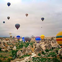 Hot air balloons in Capadocia, Turkey