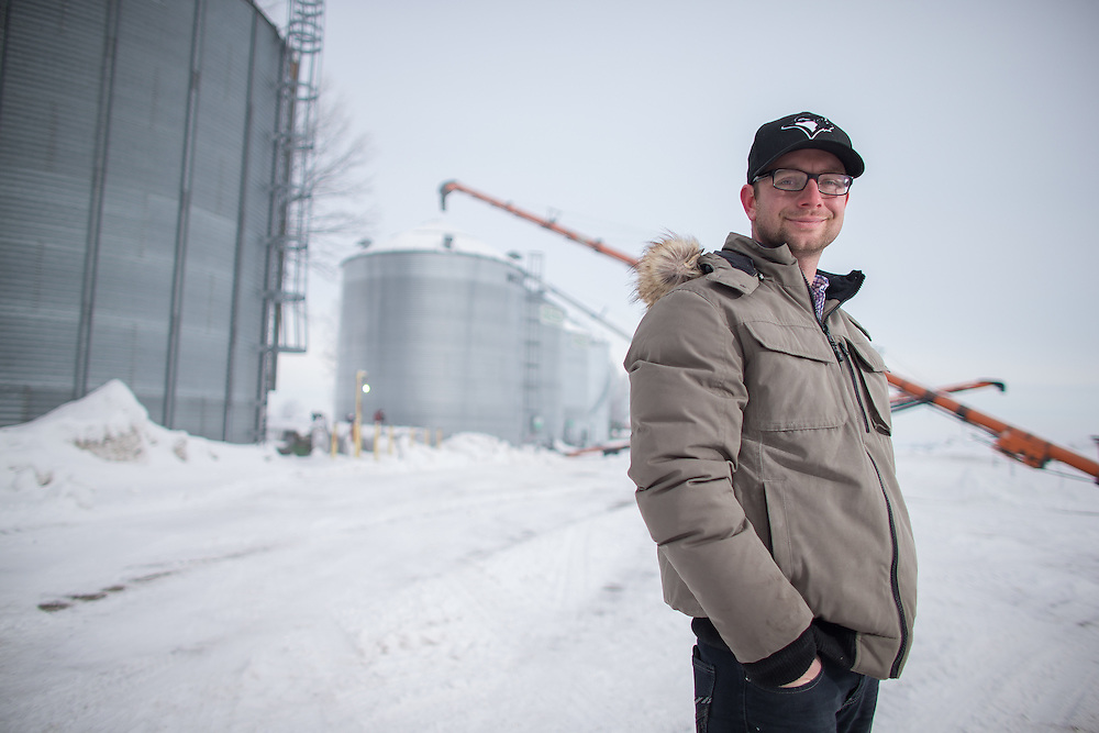 Corn Producer Dave Park of Parkdale Farms in Sarnia Ontario, stands outside his bins February 4, 2014.<br /> Farmers Forum/ Geoff Robins
