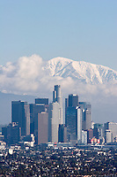 Los Angeles Skyline with Snowy Mount Baldy in Background, California