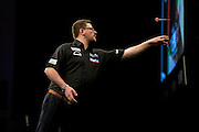 James Wade during the Premier League Darts  at the Motorpoint Arena, Cardiff, Wales on 31 March 2016. Photo by Shane Healey.