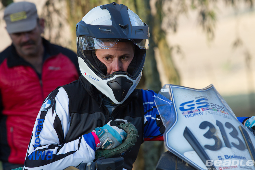 Stephanie Buisson participating in the inaugural GS Trophy Female qualifying event at the 2015 BMW Motorrad GS Trophy Female Team Qualifying Event held at Countrytrax Amersfoort, South Africa. Image by Greg Beadle