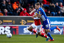 Gavin Reilly of Bristol Rovers takes on Ben Wiles of Rotherham United - Mandatory by-line: Robbie Stephenson/JMP - 18/01/2020 - FOOTBALL - Aesseal New York Stadium - Rotherham, England - Rotherham United v Bristol Rovers - Sky Bet League One