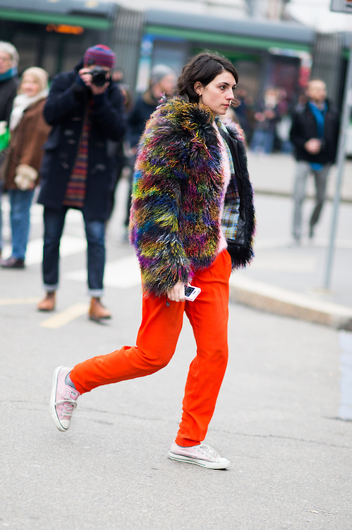 Fur Coat and Orange Pants, Outside Jil Sander