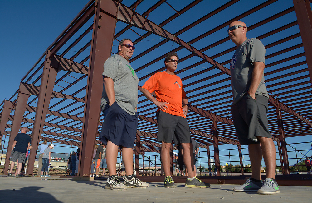 gbs061317sSPORTS -- Al Foster, director of the Albuquerque Baseball Academy Sluggers, with ABA co-owners Mike Foote and Ryan Brewer, from left, attend the groundbreaking ceremony for the new ABA facility on Tuesday, June 13, 2017. (Greg Sorber/Albuquerque Journal)