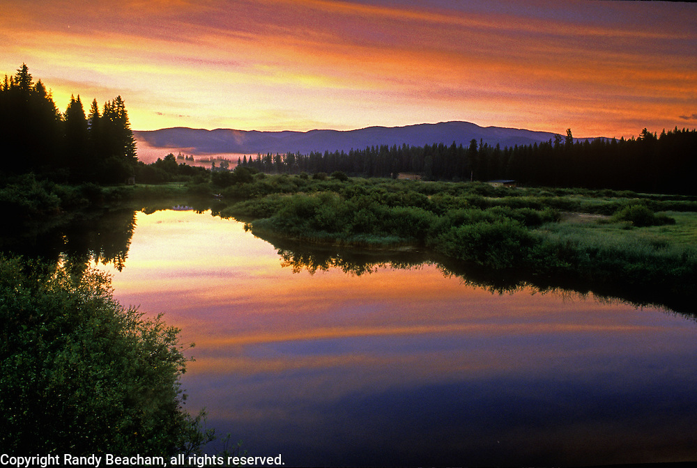 Yaak River at dawn. Yaak Valley, northwest Montana