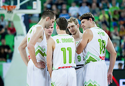 Uros Slokar of Slovenia, Zoran Dragic of Slovenia, Goran Dragic of Slovenia, Jaka Blazic of Slovenia and Miha Zupan of Slovenia during friendly basketball match between National Teams of Slovenia and Brasil at Day 2 of Telemach Tournament on August 22, 2014 in Arena Stozice, Ljubljana, Slovenia. Photo by Vid Ponikvar / Sportida