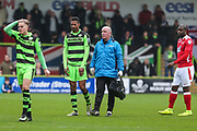 Forest Green Rovers Ethan Pinnock(16) limps off during the Vanarama National League match between Forest Green Rovers and Wrexham FC at the New Lawn, Forest Green, United Kingdom on 18 March 2017. Photo by Shane Healey.