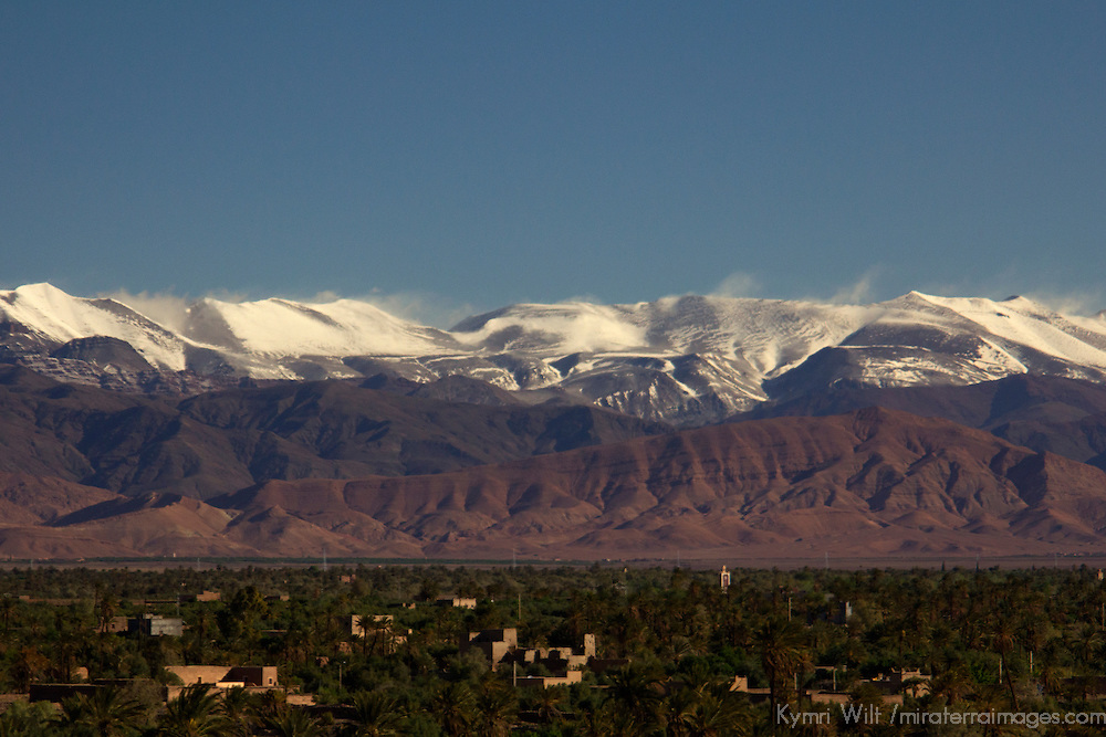 Africa, Morocco, Skoura. Atlas Mountains with village in foreground, Skoura.