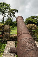 Spanish cannon guards east side of Fort San Lorenzo, Panama.
